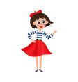 flat parisian girl in beret red dress vector image vector image