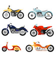 flat style motorcycles set vector image vector image
