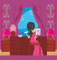girl with laptop makes shopping vector image