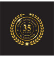 gold wreath anniversary thirty five years vector image