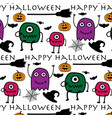 hand drawn pattern with monsters halloween vector image vector image