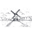 hand drawn windmill pasta or spaghetti label vector image