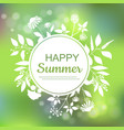 happy summer green card design vector image