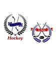 Hockey and Ice Hockey emblems or symbols vector image vector image
