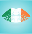 ireland flag lipstick on the lips isolated on a vector image