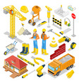 isometric builder with construction instruments vector image vector image