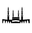 kaaba at great mosque mecca black and vector image