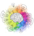 linear human brain with light vector image vector image