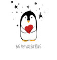 love card with cute penguin vector image vector image