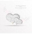 love hearts digitally drawn low poly wire frame vector image vector image