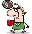 man with his valentine cartoon vector image vector image