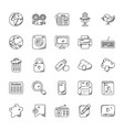 media icons doodle collection vector image vector image