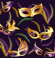 merdi gras celebration with masks background vector image