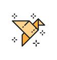 origami bird paper application crane flat color vector image