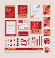 red geometric corporate identity design template vector image vector image