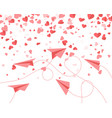 red paper airplanes and hearts fly between vector image vector image
