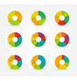 segmented pie charts set from 3 to 8 divisions vector image vector image
