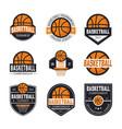 set basketball logos vector image vector image