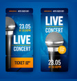 set ticket for concert with microphone vector image