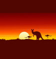 silhouette kangaroo at sunrise landscape vector image vector image