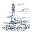 sketch of lighthouse on island with rocks vector image vector image