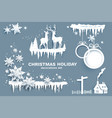 snowflakes stars ice sphere and deer vector image