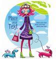 spring shopping girl vector image