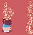 tea card with cups and flowers vector image