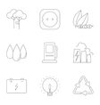 Types of energy icons set outline style vector image vector image