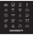 university editable line icons set on black vector image vector image