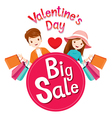 Valentines Day Big Sale Banner With Man And Woman vector image