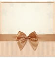 vintage greeting card template with golden bow vector image vector image