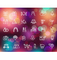 wedding line icons set on the colorful background vector image