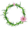 Wreath with blooming flowers isolated on a white vector image