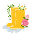 yellow rain boots with flowers cartoon vector image vector image