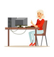 young blond woman using laptop while sitting at vector image