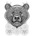 Zentangle stylized bear face on flowers Hand vector image vector image