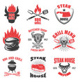 set of steak house emblems on white background vector image