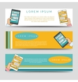 Horizontal banners with hand and tablet vector image