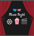 3d glasses popcorn movie reel open clapper board vector image