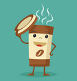 a cup of coffee holding the lid and smiling vector image vector image