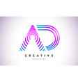 ad lines warp logo design letter icon made with vector image vector image