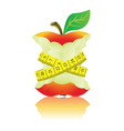 Apple with measure tape vector image vector image
