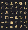 banquet icons set simple style vector image vector image