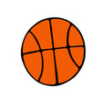basketball ball icon in doodle style isolated on vector image vector image