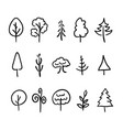 big set hand-drawn modern icons trees and vector image
