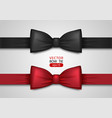 black and red bow tie realistic vector image