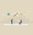 call technical support with men two people vector image