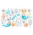 cat mermaid unicorn baby cute girl watercolor vector image