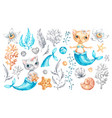 cat mermaid unicorn bacute girl watercolor vector image vector image